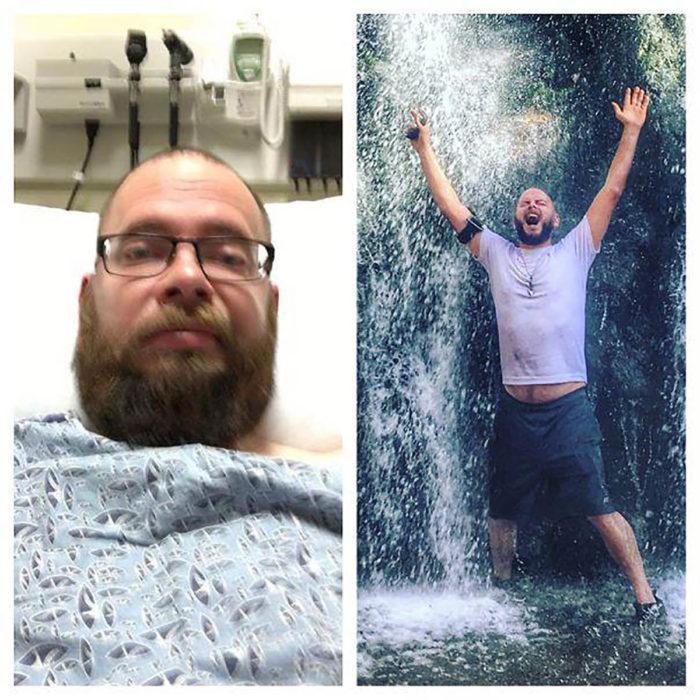 hombre en cama de hospital al lado mismo hombre de pie bajo una cascada