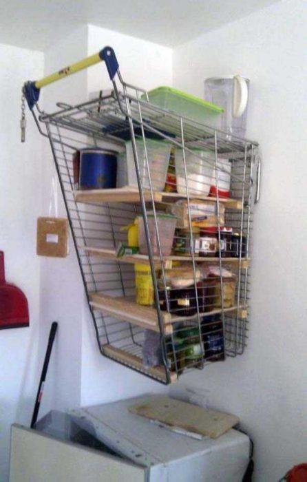 carro de compras como estante de alacena