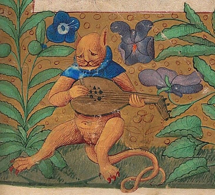 pintura medieval de gato con bandolón