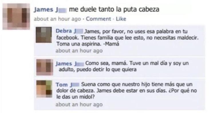 estado de facebook respondido por mamá