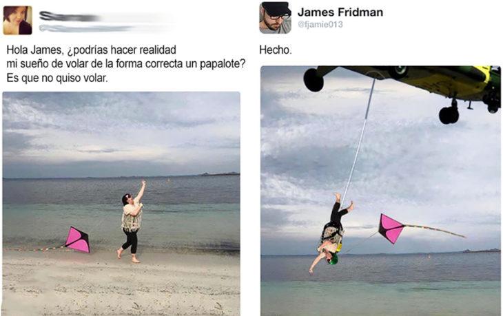 mastertroll edita a mujer volando un papalote de cabeza