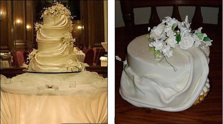 pastel de bodas diferente al que se ordenó