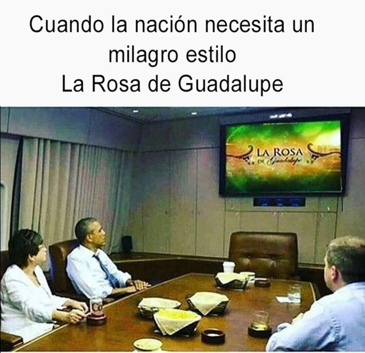 meme barack obama viendo la rosa de guadalupe
