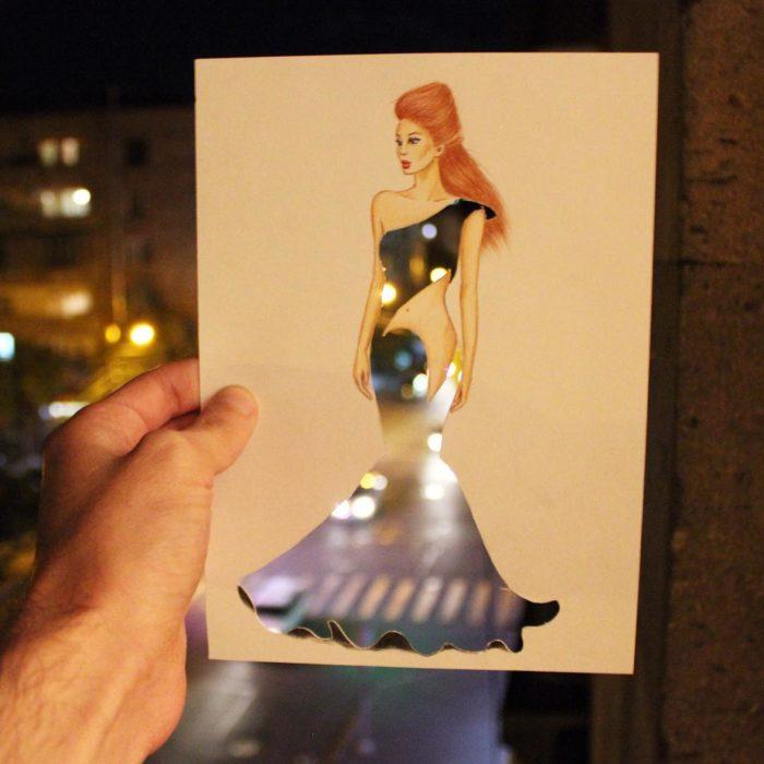 ilustración mujer con vestido hecho de luces de la ciudad