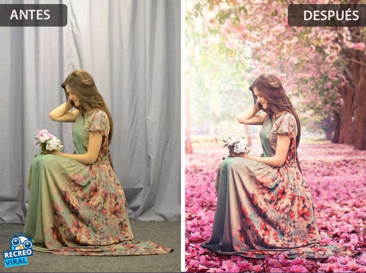 Magia de Photoshop - Mujer en un estudio fotográfico/en un paisaje