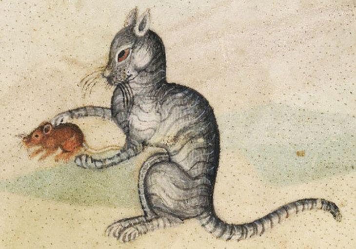 pintura medieval de gato con ratón