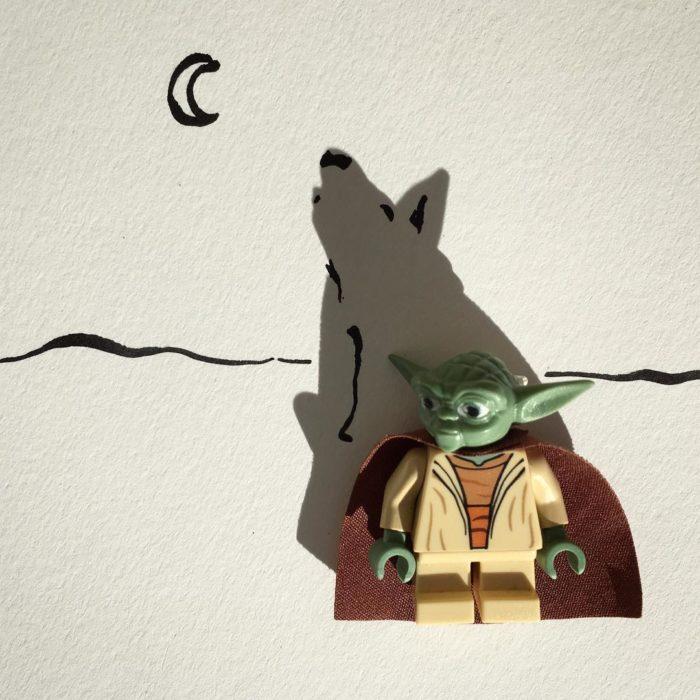 ilustración de un lobo de la sombra de un muñeco de yoda