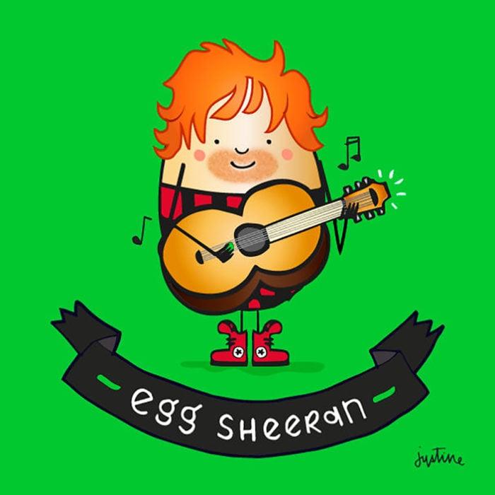 ilustración de un huevo con guitarra