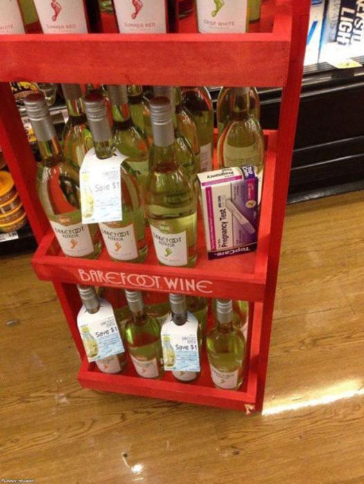 prueba de embarazo entre bebidas alcohólicas