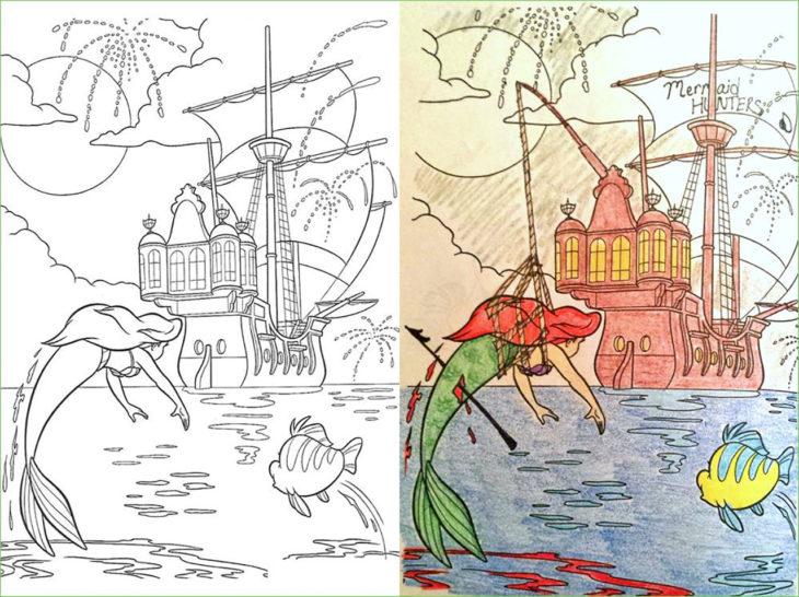 libro de colorear corrompido la sirenita pescada por un barco