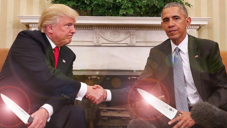 trump y obama photoshop, ambos con cuchillos