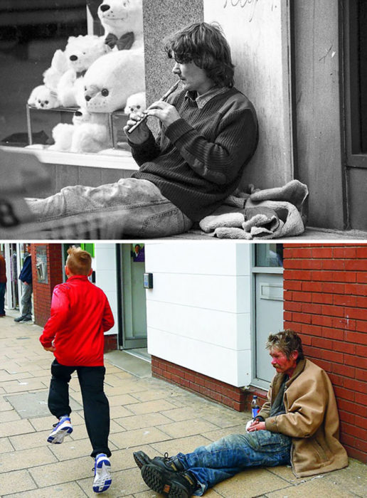 flautista de joven, indigente de viejo