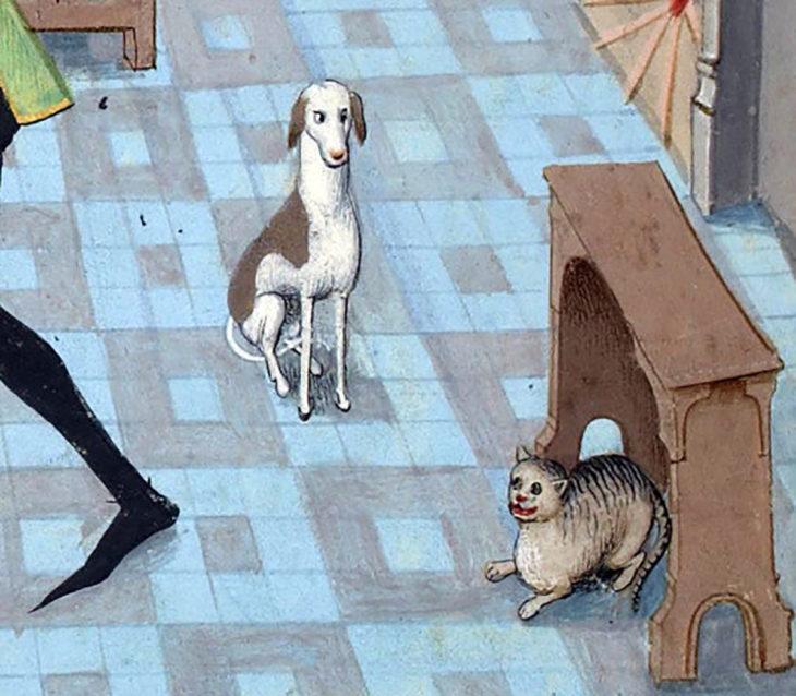 pintura medieval de perro y gato