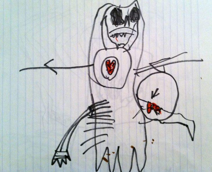 dibujo que da pavor hecho por niño