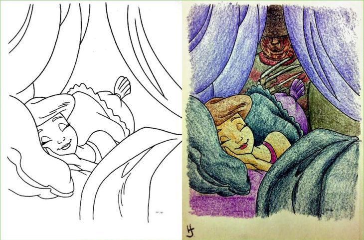 libro de colorear corrompido mujer durmuiendo