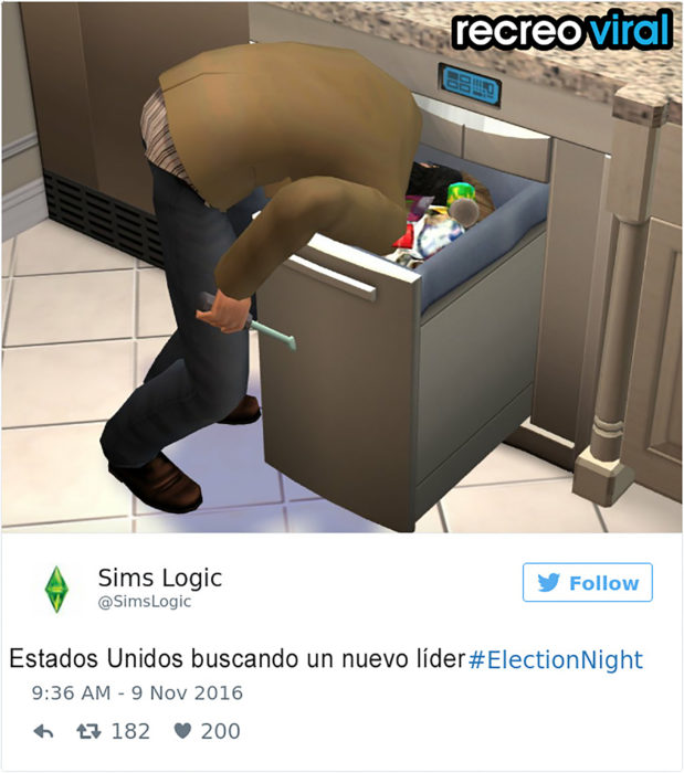 tuit donald trump animación de humano con cabeza en bote de basura