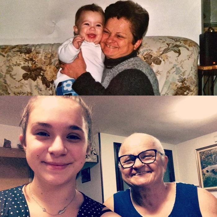 abuelita y su nieta antes y después