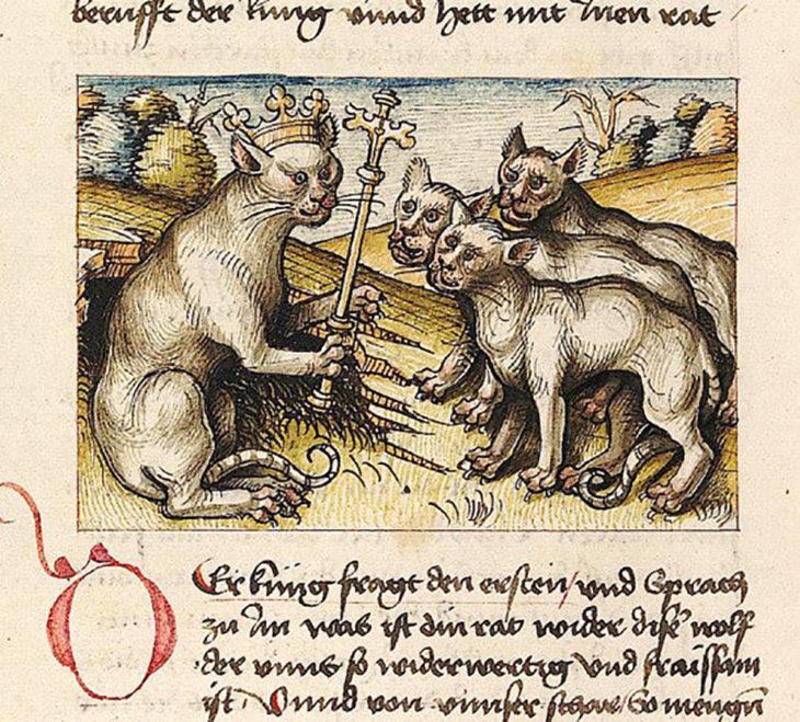 pintura medieval de un rey gato y sus lacayos