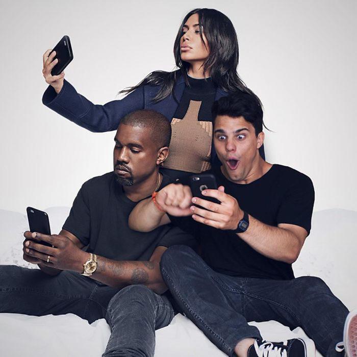 chico se edita al lado de kanye west y kim kardashian