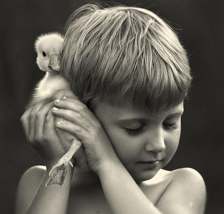 niño sosteniendo un pato