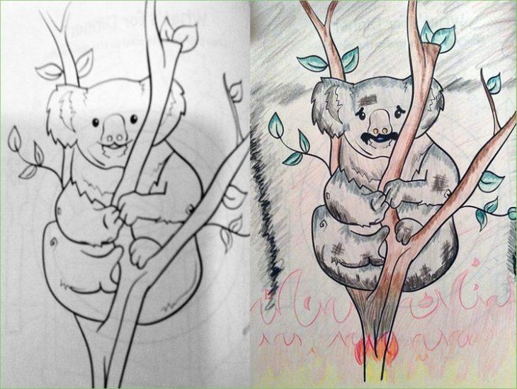 libro de colorear corrompido koala