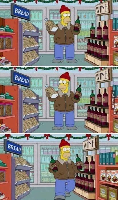 homero decidiendo entre comprar pan o vino