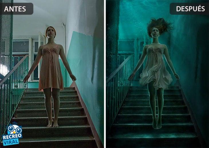 Magia de Photoshop - Mujer en escaleras/abajo del agua