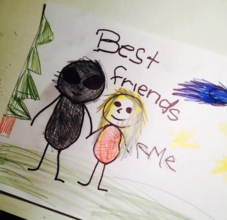 dibujo hecho por niño de una niña y una persona mala