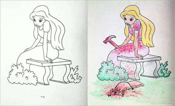 libro de colorear corrompido muchacha con una ardilla