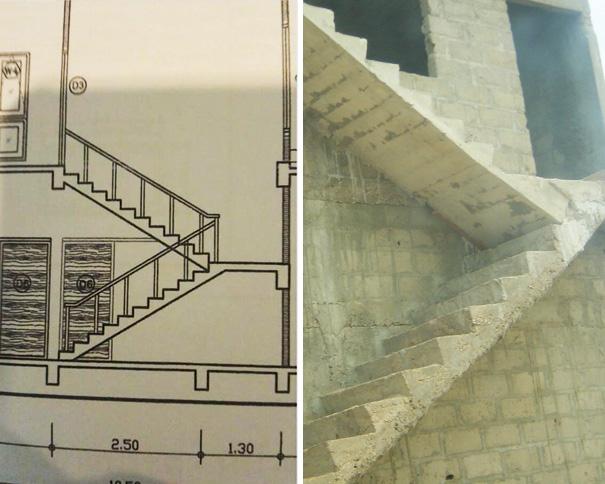 escaleras construidas como el plano