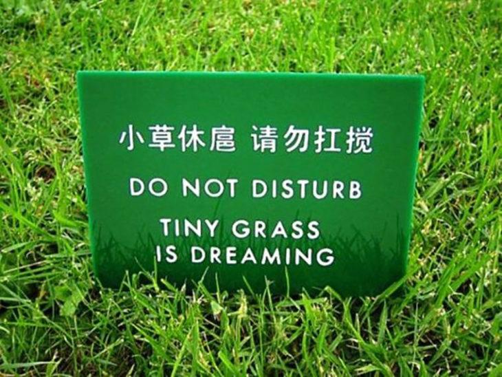 letrero en el pasto