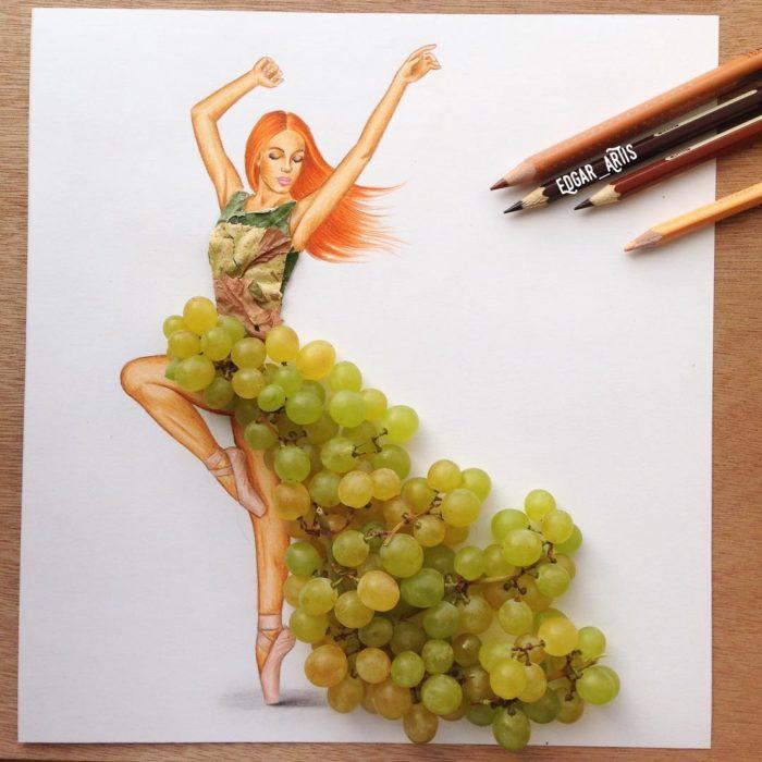 ilustración chica con vestido hecho de uvas