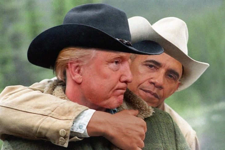 trump y obama photoshop de secreto en la montaña