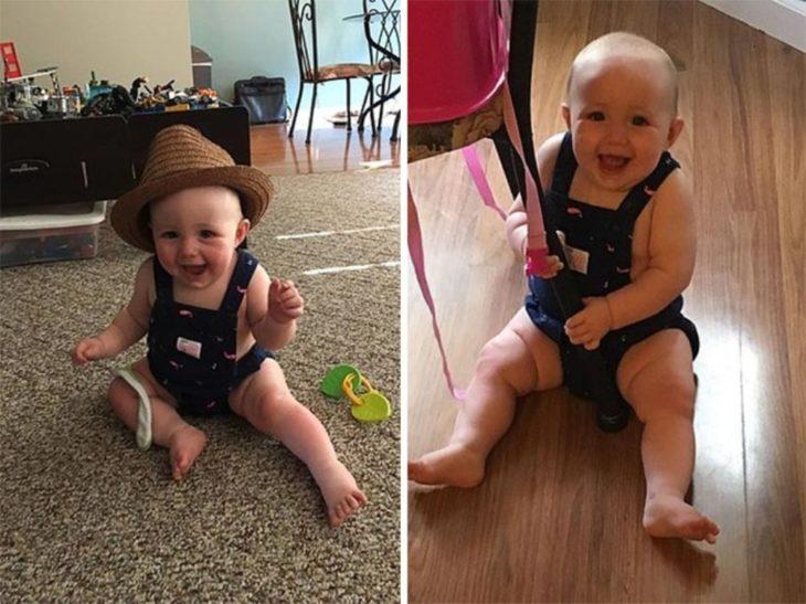 bebé en overol sin camisa