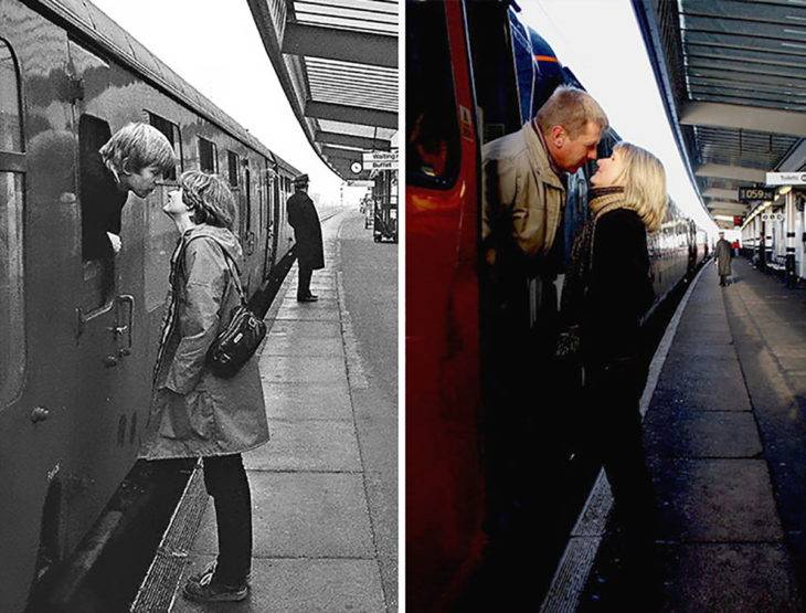 pareja beso en el ferrocarril antes y después