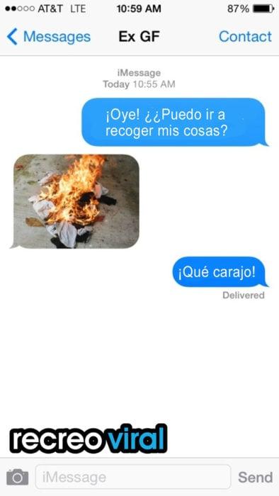 mensaje de texto con imagen de ropa quemada