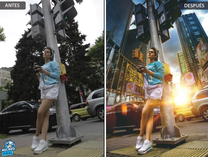 Magia de Photoshop - Chica en la calle