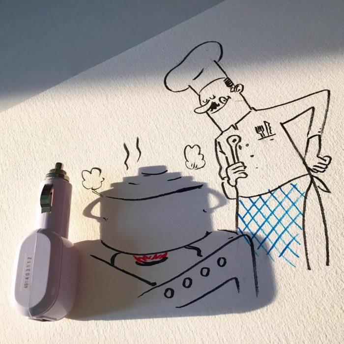 ilustración de chef cocinando