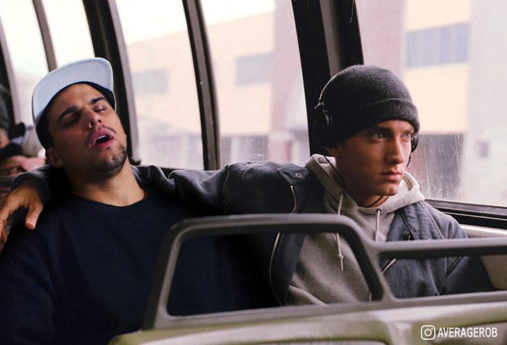 chico se edita al lado de eminem en el autobús