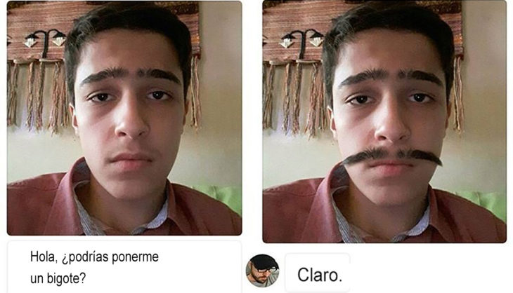 mástertroll pone bigote en chico