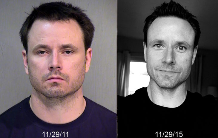 hombre de cabello negro antes y después de dejar de beber