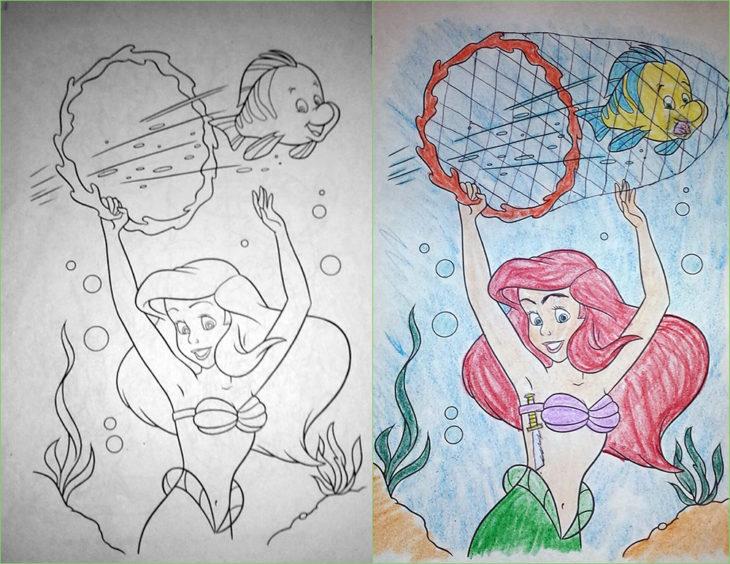 dibujo de colorear corrompido flounder y ariel