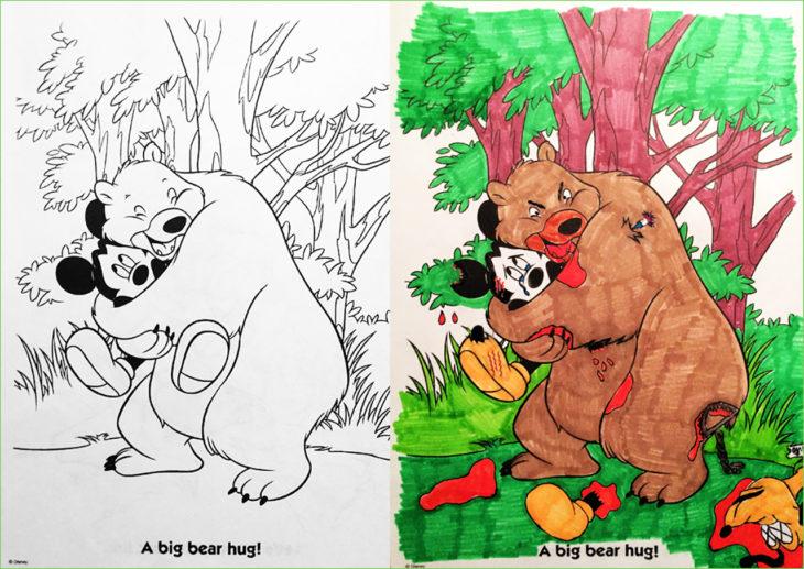 libro de colorear corrompido osos abrazando a mickey
