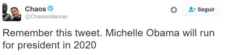 Tuit Michelle para la presidencia 2020