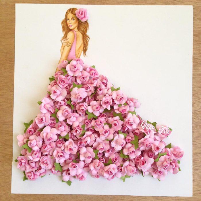 ilustración de mujer con vestido y florecillas
