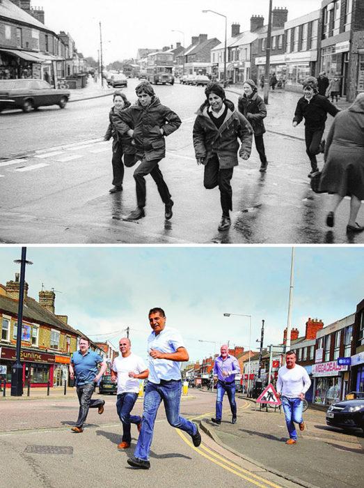 cinco niños corriendo antes y después