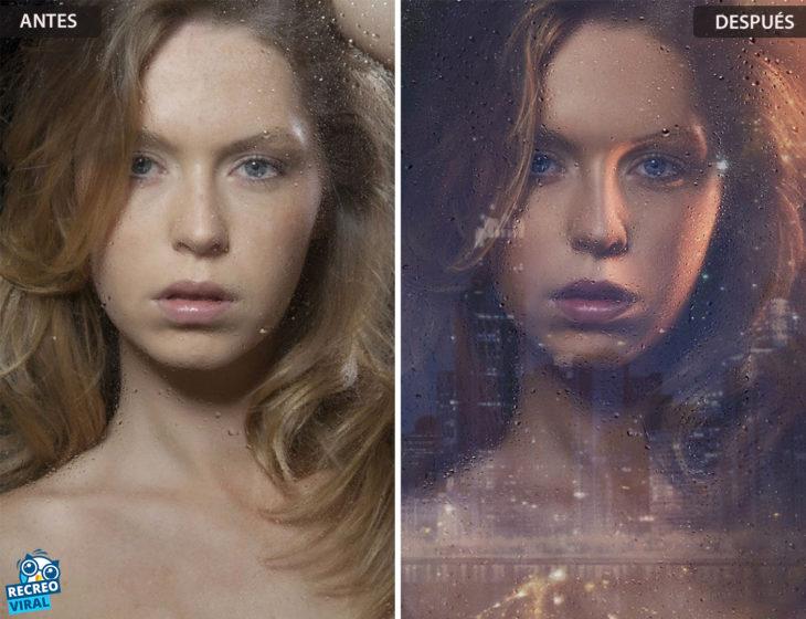 Magia de Photoshop - Rostro de mujer/reflejo ventana