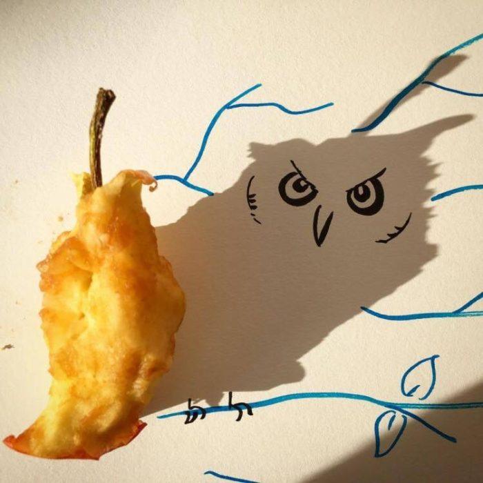 ilustración de búho de las sombras de una manzana