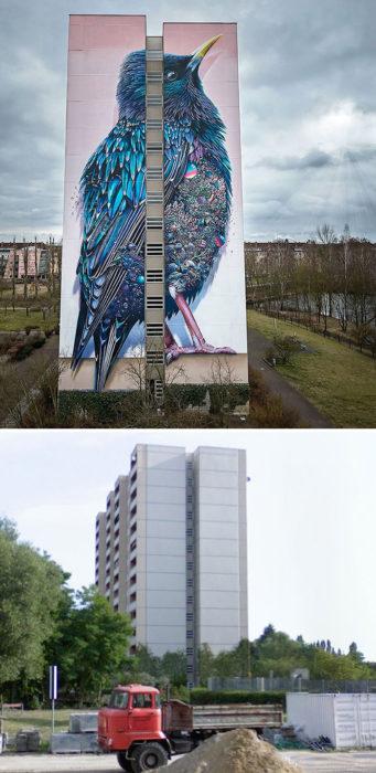 mural de Estornino Gigante - Berlín