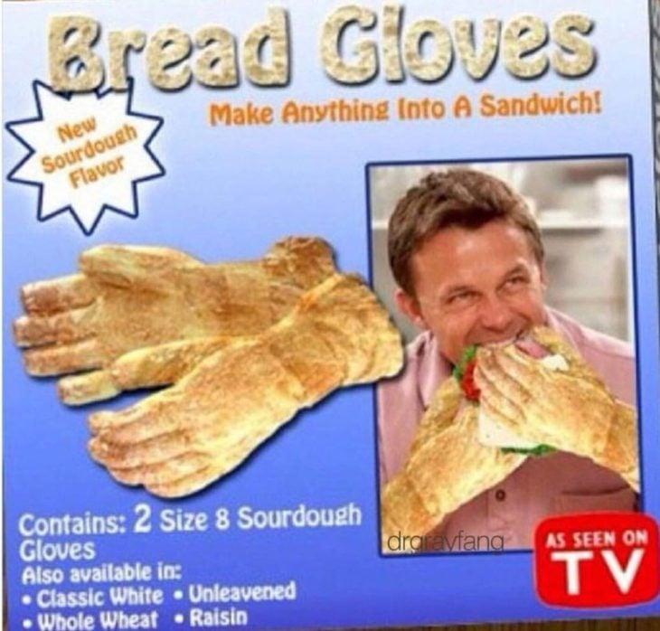 Guantes hechos de pan